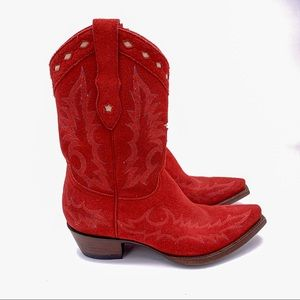 Old Gringo Suede Embroidered Cowboy Boots Red